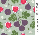 ripe red figs and half cut figs ...   Shutterstock .eps vector #1181612587