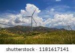 wind farm against rural... | Shutterstock . vector #1181617141