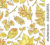 autumn leaves. seamless vector...   Shutterstock .eps vector #1181618551