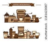 coffee objects and equipment.... | Shutterstock .eps vector #1181623087