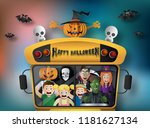 paper art style of halloween... | Shutterstock .eps vector #1181627134