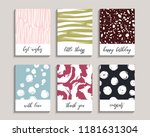 cute greeting cards set. vector ... | Shutterstock .eps vector #1181631304