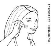 a beautiful young woman putting ... | Shutterstock .eps vector #1181653621