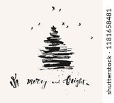 hand drawn ink christmas and... | Shutterstock .eps vector #1181658481