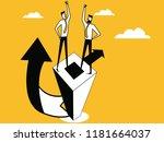 two man on pillar block to... | Shutterstock .eps vector #1181664037