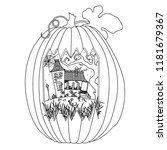 halloween coloring page | Shutterstock .eps vector #1181679367