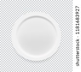 empty white round plate on... | Shutterstock .eps vector #1181683927