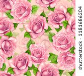 Stock photo seamless pattern made of pink roses painted with watercolors element for design 1181686204