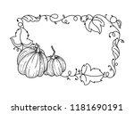 pumpkin frame and meadow grass. ... | Shutterstock .eps vector #1181690191