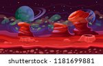Science Fiction theme illustration. Fantasy seamless scene for game. Red planet landscape background, with layers for parallax. Cosmic planet  landscape of mountains, rocks and other planets in orbit