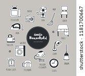 household dessert hand drawn... | Shutterstock .eps vector #1181700667