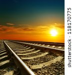 sunset over railroad - stock photo