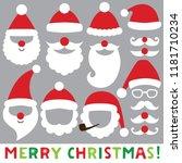 santa hats  beards and... | Shutterstock .eps vector #1181710234
