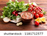 traditional mexican red spicy... | Shutterstock . vector #1181712577
