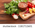 traditional mexican red spicy... | Shutterstock . vector #1181712601