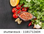 traditional mexican red spicy... | Shutterstock . vector #1181712604