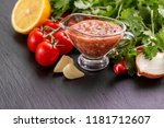 traditional mexican red spicy... | Shutterstock . vector #1181712607