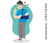mascot bob person man  with arm ...   Shutterstock .eps vector #1181716324
