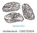 canapes finger food. vector... | Shutterstock .eps vector #1181722624
