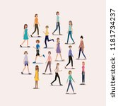 group of women walking and... | Shutterstock .eps vector #1181734237