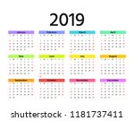 2019 calendar. vector. week... | Shutterstock .eps vector #1181737411