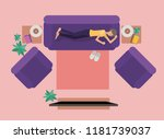 young woman watching tv on the... | Shutterstock .eps vector #1181739037