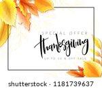 vector greeting thanksgiving... | Shutterstock .eps vector #1181739637