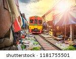 umbrella market maeklong... | Shutterstock . vector #1181755501