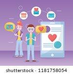 mobile love related | Shutterstock .eps vector #1181758054