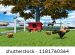 rooster  hens and chickens in... | Shutterstock . vector #1181760364
