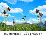 green grass meadow with... | Shutterstock . vector #1181760367
