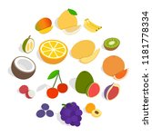 isometric fruit icons set....