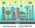 futuristic city in flat cartoon ...   Shutterstock .eps vector #1181780704