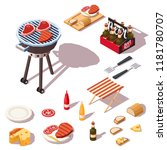 barbecue icons collection. bbq... | Shutterstock .eps vector #1181780707
