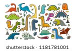 funny dinosaurs collection ... | Shutterstock .eps vector #1181781001