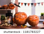 happy halloween. background in... | Shutterstock . vector #1181783227