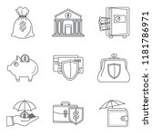 money deposit icon set. outline ... | Shutterstock .eps vector #1181786971