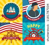 columbus day banner set. flat... | Shutterstock .eps vector #1181787034