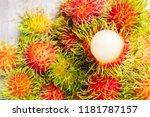 fresh rambutans on wooden... | Shutterstock . vector #1181787157