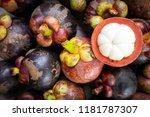 fresh mangosteen on wooden... | Shutterstock . vector #1181787307