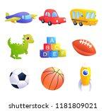 kids toys set. a car  bus ... | Shutterstock .eps vector #1181809021