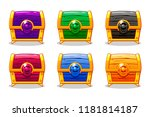 closed colored wooden chest for ...