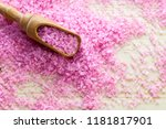 pink bath salt on wooden... | Shutterstock . vector #1181817901