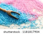 blue and pink bath salt on dark ... | Shutterstock . vector #1181817904