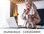 young woman in bathrobe and... | Shutterstock . vector #1181826844