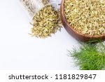 fennel seeds on the white... | Shutterstock . vector #1181829847