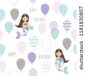 mermaid birthday seamless... | Shutterstock .eps vector #1181830807