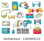 postal service set of icons and ... | Shutterstock .eps vector #1181842111