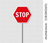 red stop sign isolated... | Shutterstock .eps vector #1181842651