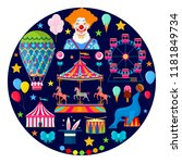 circus and amusement icons in...   Shutterstock .eps vector #1181849734